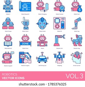 Robotics icons including robot blueprint, charging, contest, cost, group, hand, head, kit, leg, manual, zone, arm, dog, support, surgery, self-driving car, shipping, smart human.