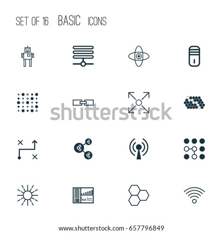 Robotics Icons Set Collection Branching Program Stock Vector