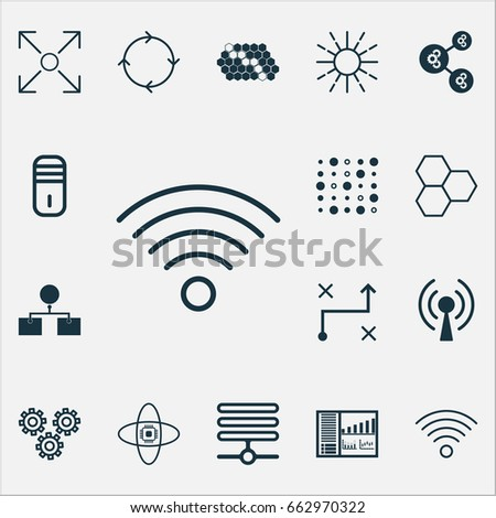 Robotics Icons Set Collection Hive Pattern Stock Vector Royalty
