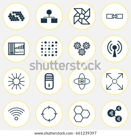 Robotics Icons Set Collection Mainframe Analysis Stock Vector