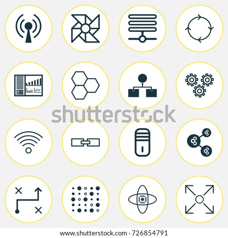 Robotics Icons Set Collection Related Information Stock Vector