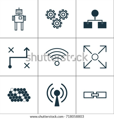 Robotics Icons Set Collection Solution Branching Stock Vector
