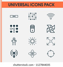 Robotics icons set with loop algorithm, linked data, wi-fi and other mainframe elements. Isolated vector illustration robotics icons.