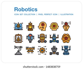 Robotics Icons Set. UI Pixel Perfect Well-crafted Vector Thin Line Icons. The illustrations are a vector.