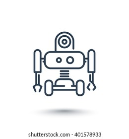 Robotics line icon, robot pictogram isolated on white, vector illustration
