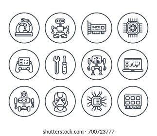 Robotics, mechanical engineering, robots, microelectronics line icons on white