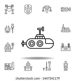 Robotics submarine outline icon. set of robotics illustration icons. signs, symbols can be used for web, logo, mobile app, UI, UX