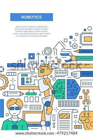 Robotics Vector Line Design Brochure Poster Stock Vector Royalty