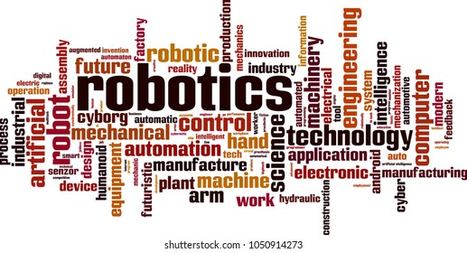 Robotics word cloud concept. Vector illustration