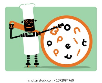 """Robotization in HORECA sector. Cyborg - chef with huge pan where text """"Bon appetit!"""" is placed by creative way.  RPA."""