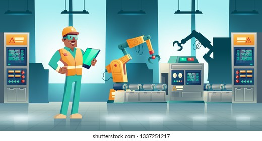 Robotized industrial production cartoon vector concept. Robotic hands working on modern factory or plant conveyor, manufacture qualified worker, engineer or service technician with tablet illustration