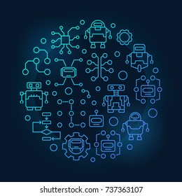 Robots and AI round blue illustration. Vector circular colorful symbol made with artificial intelligence and robot icons on dark background