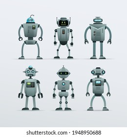 Robots characters design vector collection