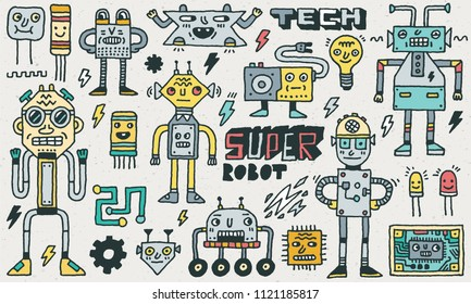 Robots and Computer Hardware Microcontroller. Funny Characters Vector Color Illustration Set 1
