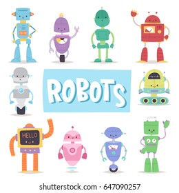 Robots cute vector characters and transformer vector androids retro set cartoon toys character future artificial robotics machine cyborg  illustration