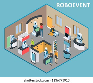 Robots event exhibition template. Vector isometric illustration of robots advertising realization of goods or services using promotional counters, display stands, flag banners.