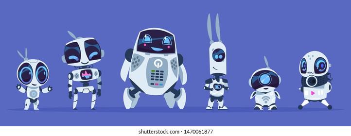 Robots evolution. Creative cartoon characters of futuristic robots, artificial intelligence education evolution concept. Vector IT future robotics AI set