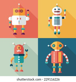 Robots flat square icons with long shadows. Set 11
