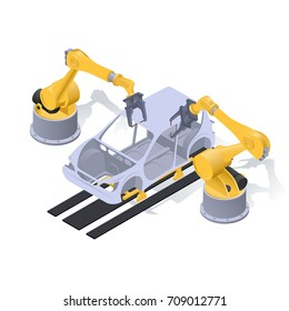 robots form the car body, isometric image on white background