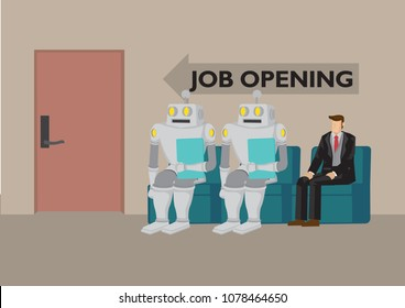 Robots and human going for job opening. Depicts future job market and artificial intelligence. Concept of Human vs Robot. Isolated vector cartoon illustration.
