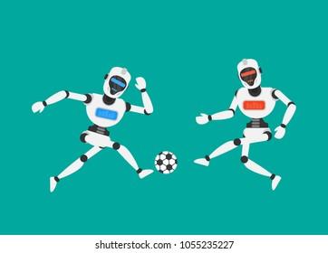 robots humanoid playing football soccer