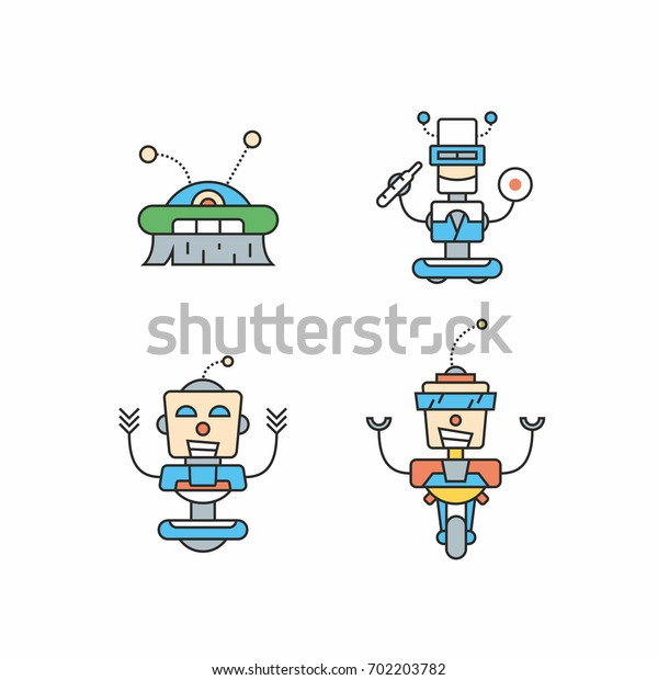 Robots illustrates, line icons