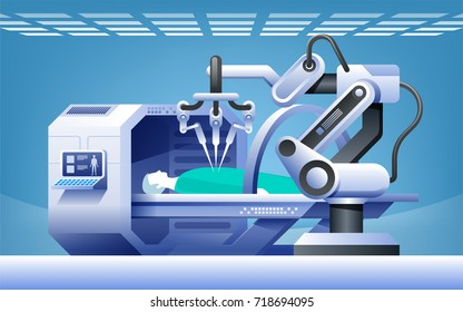 Robots in medicine. Innovative medicine. Robotic surgery.  Modern medical technologies vector concept.
