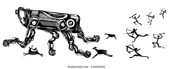 Robots and people. Symbol of degradation of mankind, future and past, time machine tattoo and t-shirt design. Modern robot runs away from cave people