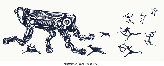 Robots and people, tattoo art. Symbol of degradation of mankind, future and past, time machine. Robot and human