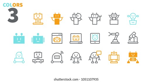 Robots Pixel Perfect Well-crafted Vector Thin Line Icons 48x48 Ready for 24x24 Grid for Web Graphics and Apps. Simple Minimal Pictogram Part 1