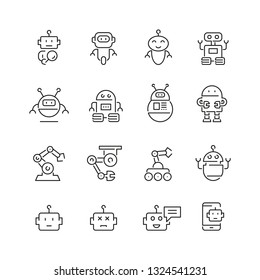 Robots related icons: thin vector icon set, black and white kit