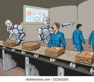 Robots replacing human workers