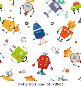Robots seamless pattern. Children robo background. Color cute kids pattern.