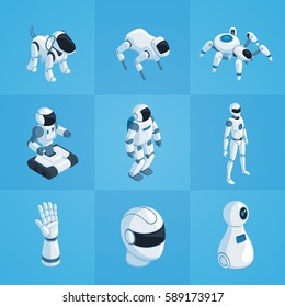 Robots set of isometric icons including androids automatic dog and spider on blue background isolated vector illustration