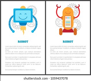 Robots with turbine and on wheels promo posters set. Mechanical robots that worcs with petrolium and electricity cartoon vector illustrations set.