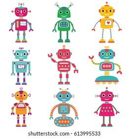 Robots, vector set of nine characters