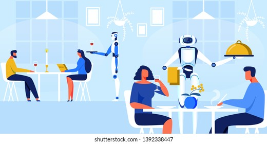 Robots Waiters in Restaurant Vector Illustration. Men And Women Sit at Tables in Modern Restaurant, Served by Robot. Artificial Intellect Offers People Choice Wine in Restaurant Cartoon.