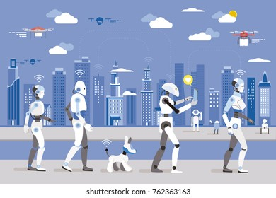 Robots Walking in a Futuristic City. 