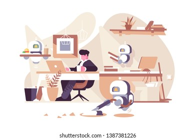 Robots working in office vector illustration. Man sitting at workplace with laptop and bionic persons cleaner waiter and assistant flat style design. New robotic technologies concept