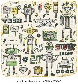 Robots,Electrical, Circuits, Microschemes.Cool and cute funny vector set 2. Vintage Texture. Vector Illustration.