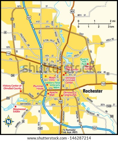 Rochester Minnesota Area Map Stock Vector Royalty Free 146287214