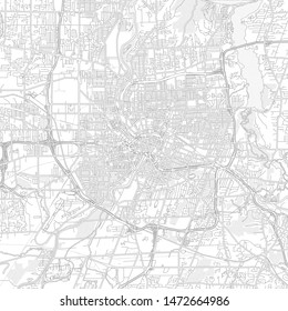 Rochester, New York, USA, bright outlined vector map with bigger and minor roads and steets created for infographic backgrounds.