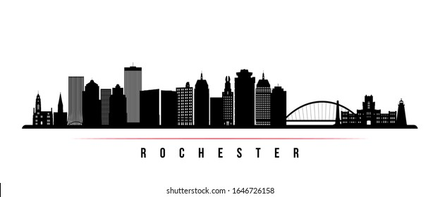 Rochester skyline horizontal banner. Black and white silhouette of Rochester, New York. Vector template for your design.