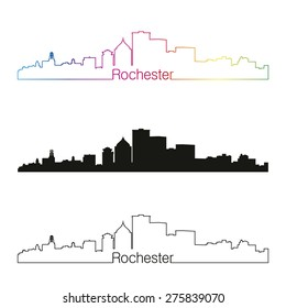 Rochester skyline linear style with rainbow in editable vector file