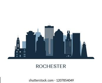 Rochester skyline, monochrome silhouette. Vector illustration.