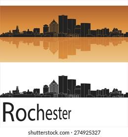 Rochester skyline in orange background in editable vector file