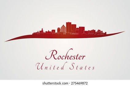 Rochester skyline in red and gray background in editable vector file