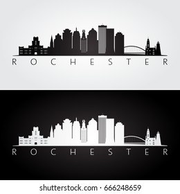 Rochester USA skyline and landmarks silhouette, black and white design, vector illustration.