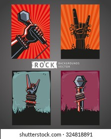 Rock backgrounds. Four templates for rock posters.