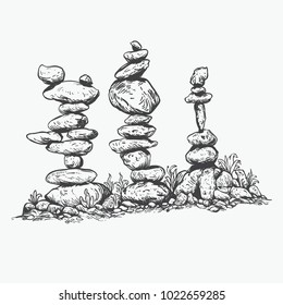 Rock balancing or stone balancing, stone or rock stacking hand drawing line art